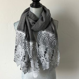 Lace gray grey crochet scarf wrap Anthropologie